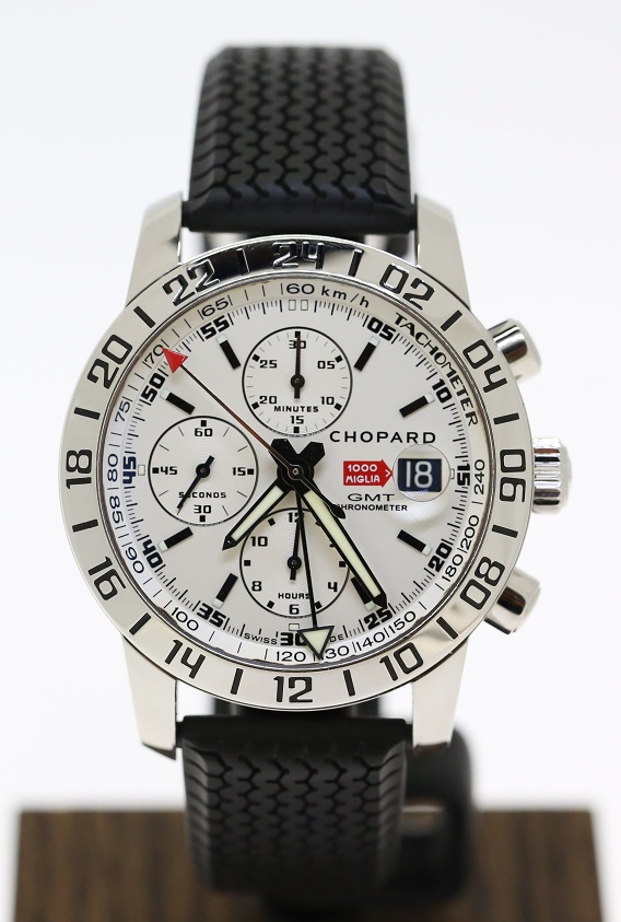 3c8b90fc68d85 Chopard Mille Miglia GMT Chronograph in Stainless Steel on Strap Ref ...