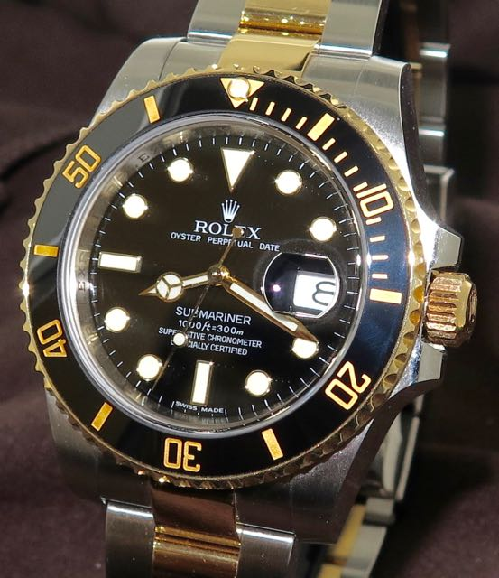Rolex Oyster Perpetual Submariner Date in Two Tone 18ct Yellow Gold and  Stainless Steel Complete Set Serviced by Melbourne Rolex Service Center Oct