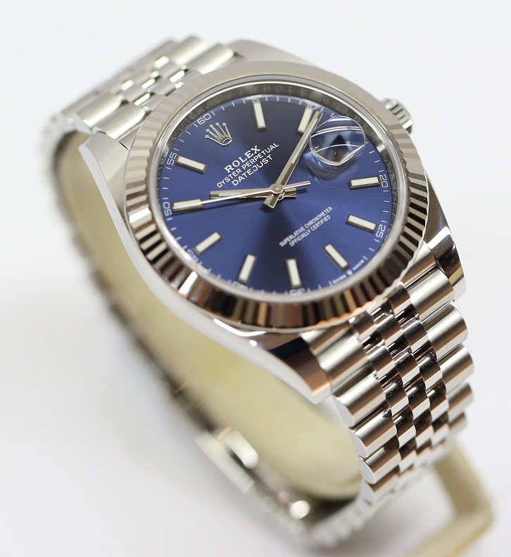 Rolex Oyster Perpetual Datejust 41 Ref 126334 Stainless Steel with White  Gold Bezel and Blue Dial on Jubilee Bracelet Box and Papers
